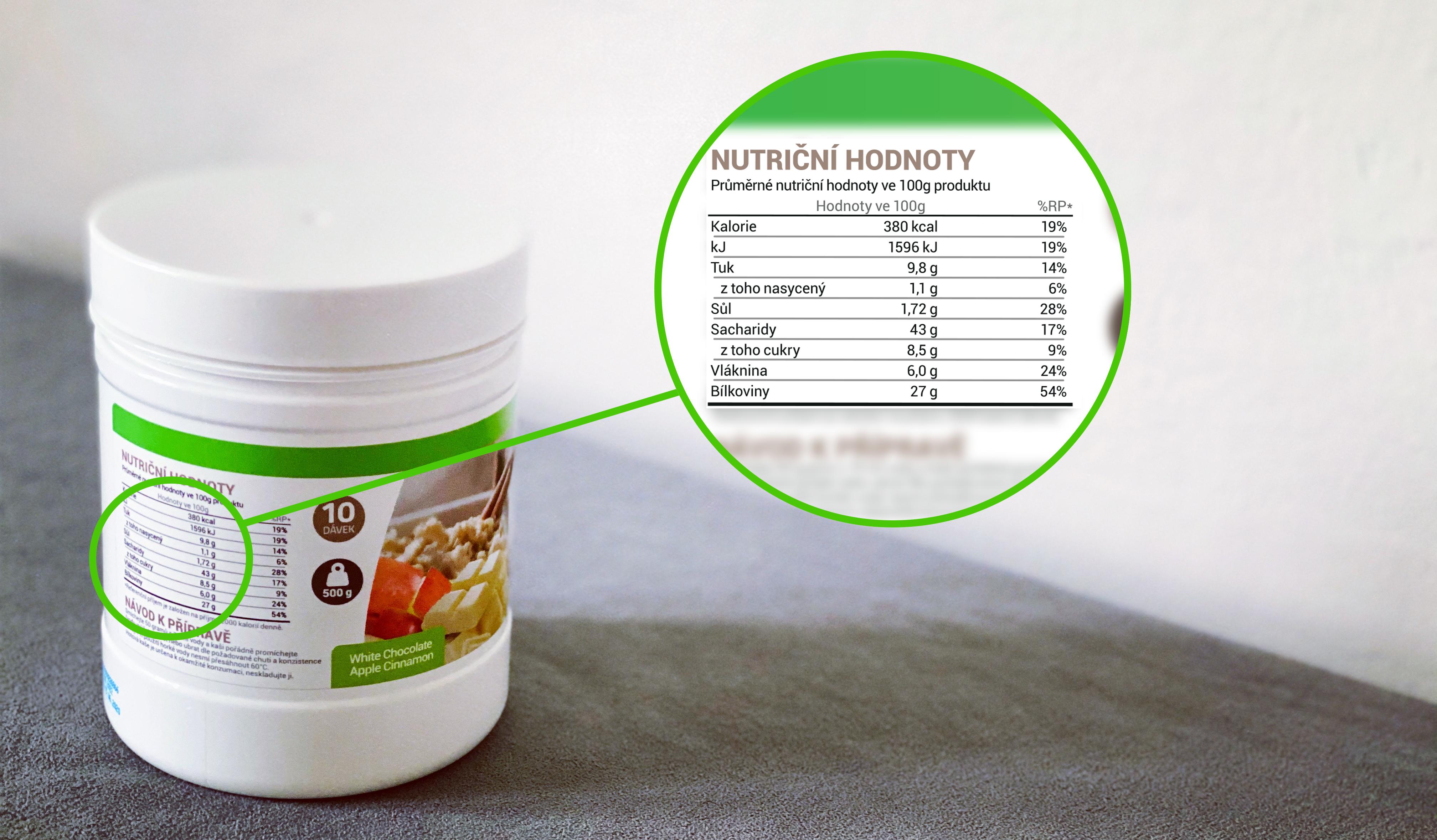 protein porridge ukázka nutričních hodnot